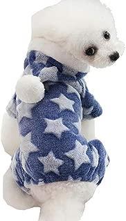 Vividda Small Dog Cat Clothes Fleece Pajamas Hoodies Star Pattern Winter Fleece Coat Jumpsuit Sweatshirts