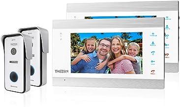 TMEZON WIFI 7 Inch 1080P Smart IP Wireless Video Doorbell Intercom System Entry Door Phone 2x Montior with 2x1200TVL Wired...