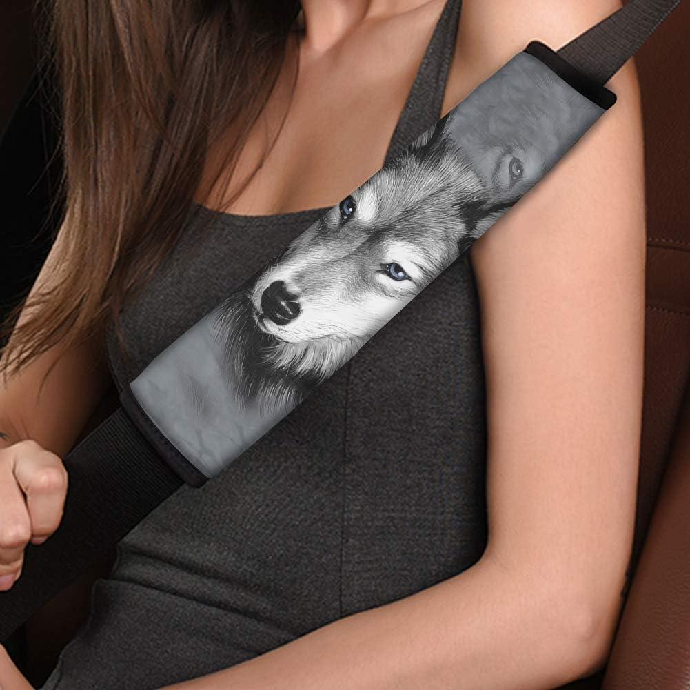 BIGCARJOB 3D Wolf Print Seat Belt Cover 2 Packs Soft Car Seat Belt Pad Cover Neoprene Seat Belt Shoulder Pads