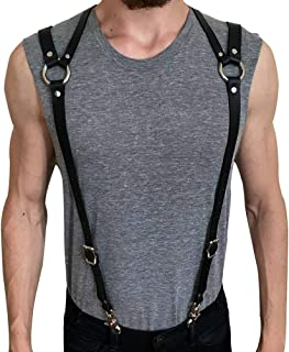 Body Chest Harness Punk Adjustable Faux Leather Belt with Buckles Rings for Men Women