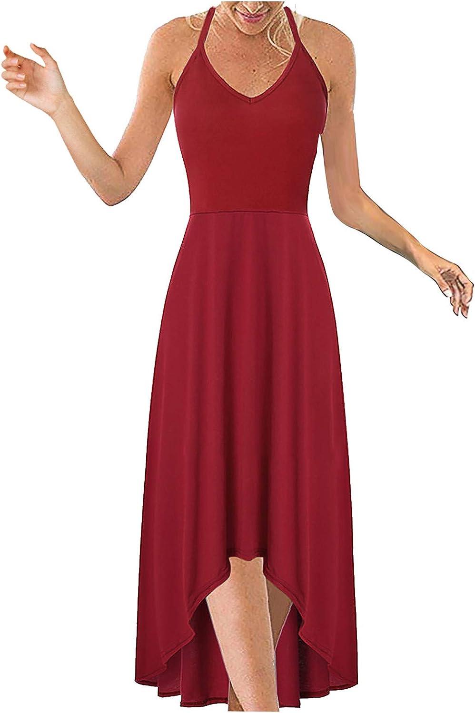 FABIURT Summer Dresses for Women,Womens Fashion Plus Size Long Dresses V-Neck Sleeveless Asymmetrical Floral Maxi Dress