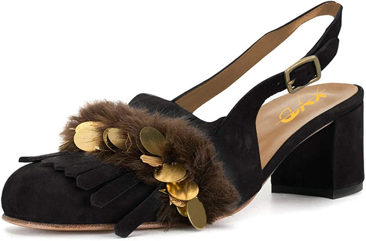 XYD Women Cute Fur Slingback Sandal Fringe Pumps Slip On Buckle Round Closed Toe Tassels Slide Chunky Mid Heel Suede Ladies Girls Daily Date Dress Shoes