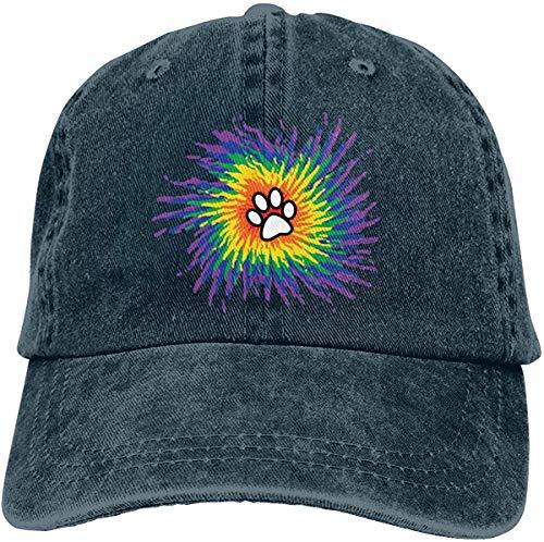 ingshihuainingxiancijies Tie Dye Pfötchen aus gewaschenem Denim Hut Adjustable Unisex Dad Baseball Caps