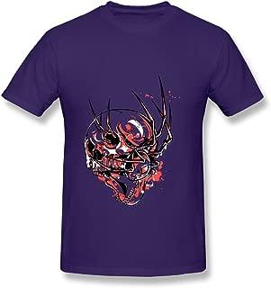 LUYTG Men's T-Shirt Bloody Howl Skull Purple