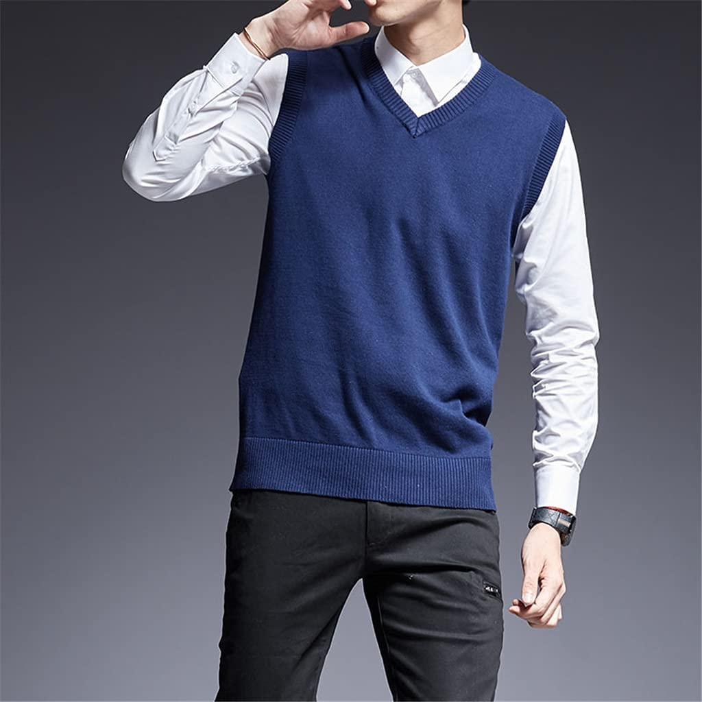 GYZX Sweater for Mens Pullovers Sleeveles Slim Fit Jumpers Knit Thick Autumn Casual Men Clothes (Color : Blue, Size : XXXL)