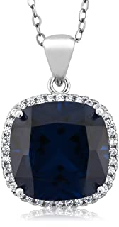 925 Sterling Silver Blue Simulated Sapphire Women's Pendant Necklace with 18 Inch Chain (9.00 Cttw, 13X13MM Cushion Cut)