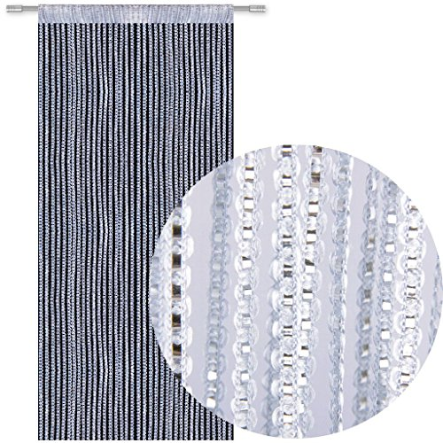 Bestlivings Fadengardine Türvorhang Fadenvorhang Metallikoptik mit Stangendurchzug, trendig schön in vielen erhältlich (90x200 cm/Silber - hellgrau)