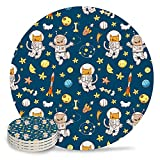 Set of 6 Coasters for Drinks, Absorbing Stone Cute Cat Astronaut and Dog Spaceman Ceramic Round Coaster with Cork Base No Holder, for Housewarming Coffee Kitchen Room Bar Decor (4 Inch)