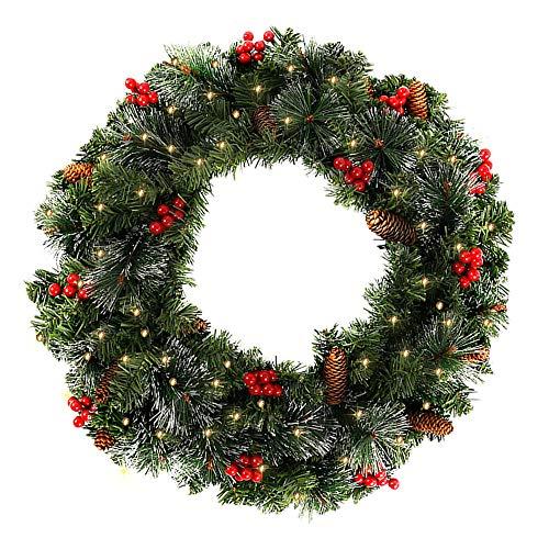 60CM Künstliche Weihnachtskranz Deko mit 50 LED Warm Weiß Christmas Wreath Decoration Künstlicher Kranz Weihnachten Künstliche Kranz Deko für Parties Feste Türen Halloween Weihnachten Deko (50 LED)