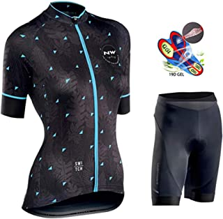 Women Cycling Jersey Set Breathable Quick Dry Comfortable Short Sleeve + 19D Padded Padded Shorts Cycling Clothing Set,C,4XL