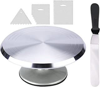 """12.2"""" Rotating Cake Decorating Stand, Aluminium Alloy Revolving Cake Turntable with 12.6"""" Angled Icing Spatula & 3pcs Icing Smoother by THETIS Home"""