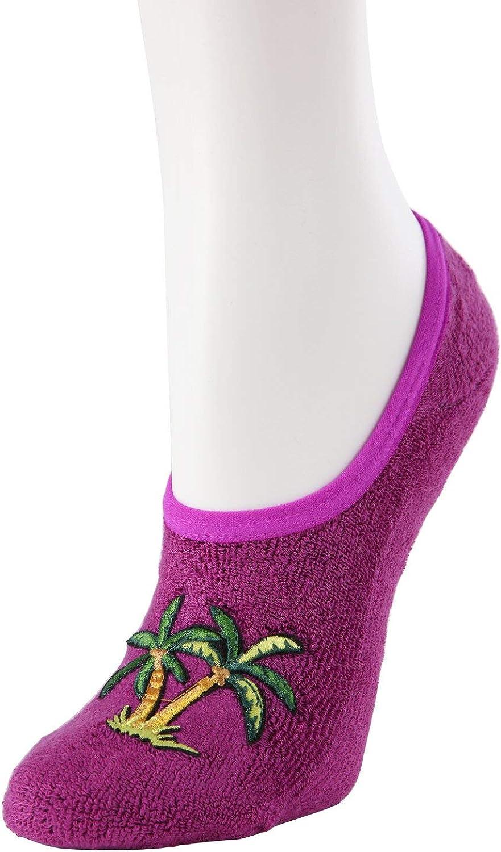 MeMoi Palm Tree Terry Slipper Socks