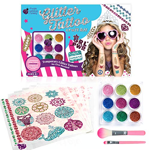 Purple Ladybug Glitter Tattoo Kit for Girls! 175 Intricate Peel & Stick Tattoo Designs with 9 Glitter Colors - No Messy Glue or Stencils Needed! Fun Art & Craft Set for Kids & Teens, Great Girl Gift!