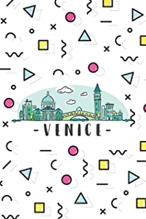Venice: ~ Neutral Wide-Ruled Blank Journal Travelers Notebook With City Skyline Cover