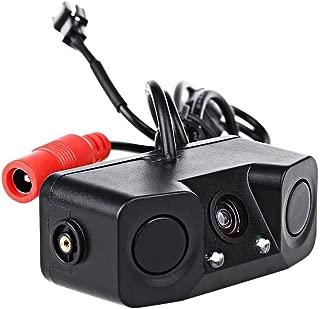 PONPY 3 In 1 HD Color CCD Video Parking Sensor Car Reverse Backup Rear View Camera with Built-in Radar Detector Sensors BiBi Alarm Indicator