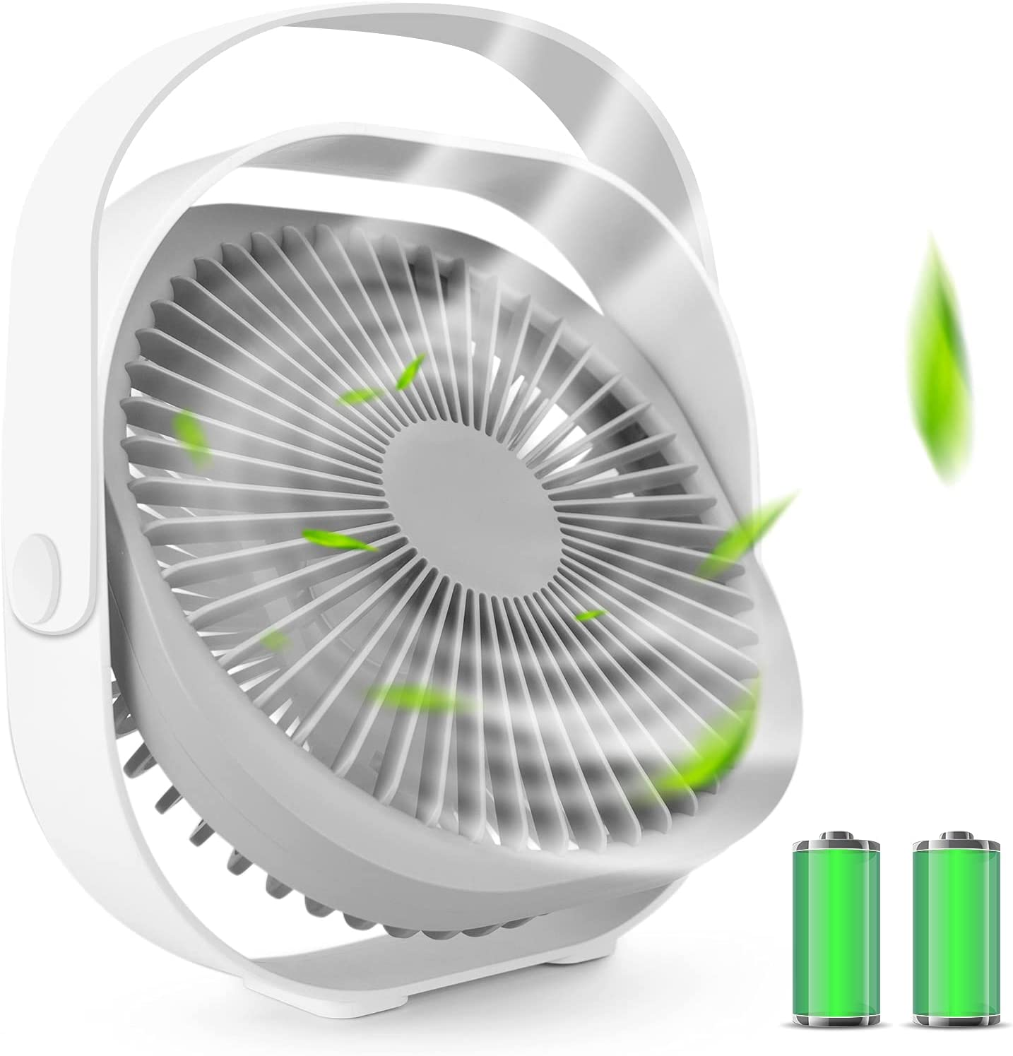 Desk Fan, Portable Personal Table USB Fan 4000mAh Rechargeable 8'' Small Electric Cooling Desktop Fan, Adjustable 3 Speeds Strong Airflow 360 Rotation Ultra Quiet for Bedroom Home Office Travel (White)