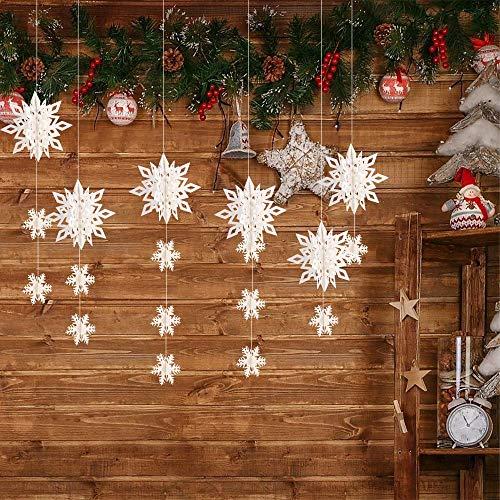 DERAYEE insgesamt 18 stück Hängende Schneeflocke Ornamente 6 stück 3D Papier Schneeflocke Girland Dekoration 12 stück kleine Schneeflocke und 3 Meter Weiße Seil