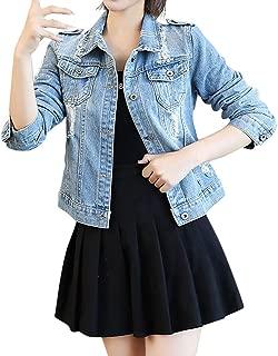 Rosatro Women Denim Jackets Ladies Washed Denim Jeans Jacket Ripped Pockets Turn-Down Jacket