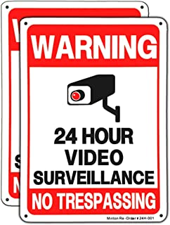 (2 pack) Video Surveillance Sign, No Trespassing Metal Reflective Warning Sign, 10