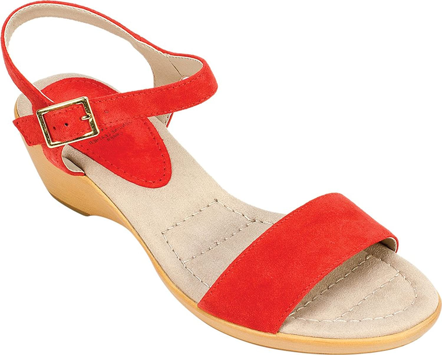 White Mountain Womens Corky Leather Open Toe Casual Ankle Strap, Red, Size 8.5