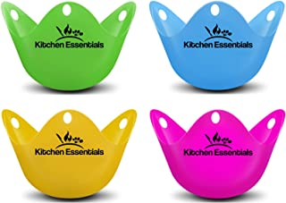 Kitchen Essentials Egg Poacher Cups (4 Pack) for Perfect Poached Eggs – Premium LFGB-Grade Silicone Egg Poachers BPA Free ...