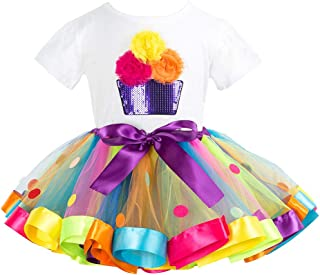Niñas Camiseta y Falda Tutú 2 Piezas Bebé T-Shirt de Algodón Princesa Vestido Conjunto de Trajes 2-5 Años