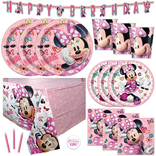 Pink Minnie Mouse Bowtique Birthday Party Supplies Set - Serves 16 - Banner Decoration, Table Cover, Dinner and Cake Plates, Cups, Napkins, Candles, Sticker