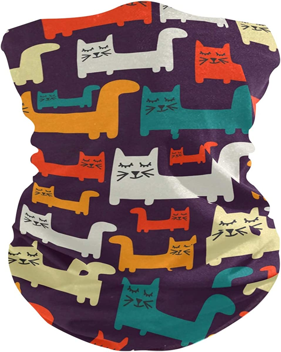 Colorful Pattern With CatsFace Mask Sun UV Protection Bandana Mask Rave Neck Gaiter Balaclava Headwrap Face Cover Scarf