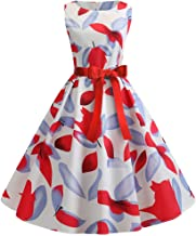 Women's Vintage 1950s Floral Print Hepburn Bow Evening Party Prom Swing Dress