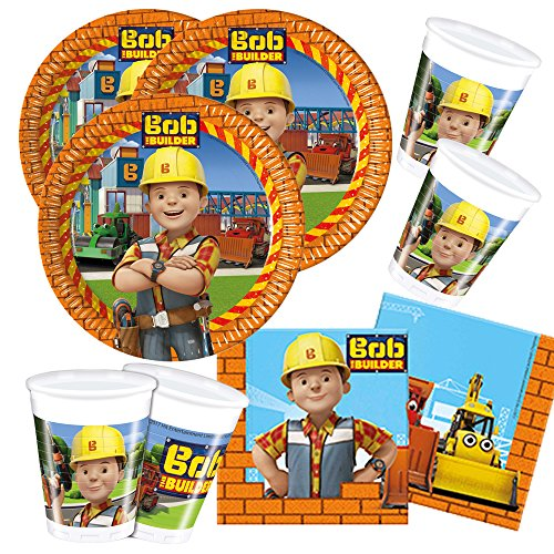 52-teiliges Party-Set Bob der Baumeister - Teller Becher Servietten für 16 Kinder