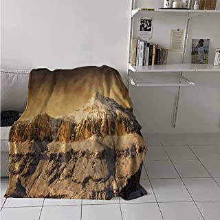 maisi Mountain Digital Printing Blanket Surreal Saturated Photo of The Italian Twin Mountain Peaks with Silent Overcast Sky Summer Quilt Comforter 62x60 Inch Sepia