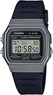 Men's Classic Quartz Watch with Resin Strap, Black, 19.25 (Model: F-91WM-1BCF)