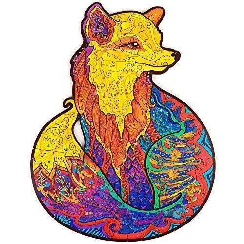 METBOM Hölzerne Puzzle-Puzzles - einzigartige Form-Puzzle-Stücke, verführerisches Muster, Erwachsene und Kinder,Fox a3