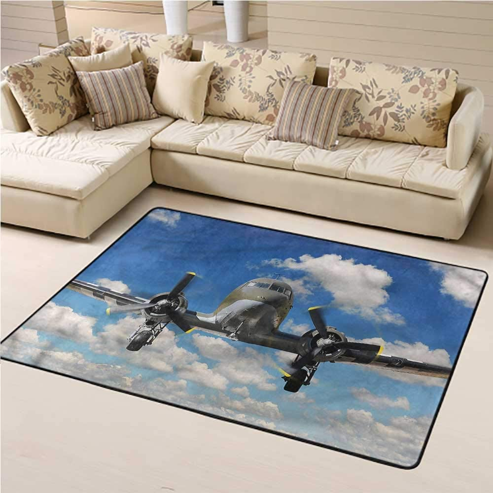 Indoor Modern Area Rugs Airplane Living Room Floor Carpets Aircraft In A Sunny Day For Bedroom Living Room 4 7 X5 2 Kitchen Dining
