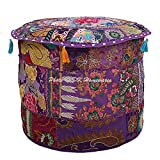 DK Homewares Indian Pouf Ottoman Cover Vintage Patchwork Purple Round Foot Stool Decorative Tuffet Cotton Embroidered Pouf Chair Seat Floral Traditional 22x22x14