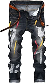 YOUTHUP Mens Biker Jeans Stretch Ripped Denim Trousers Straight Leg All Waist Cargo Pants