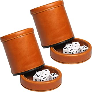 RERIVER Leatherette Dice Cup with Lid Includes 6 Dices, Velvet Interior Quiet in Shaking for Liars Dice Farkle Yahtzee Board Games,(2Pack, Brown)
