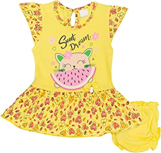 Hopscotch Baby Girls Cotton Short Sleeves with Beautiful Prints Dress Jhabla with A Solid Panty in Yellow Color