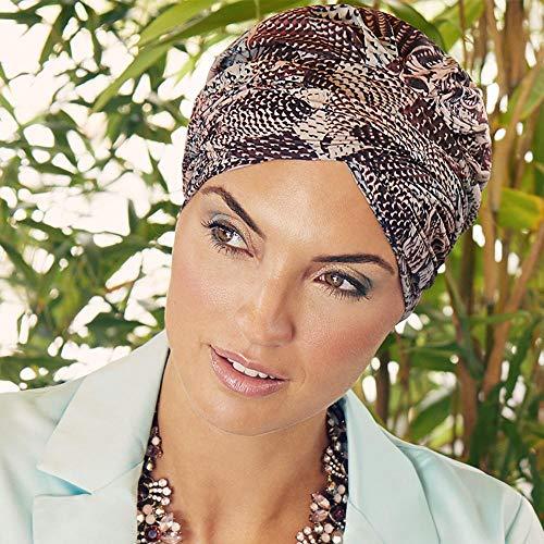 Boho Spirit Headwear Espectacular Turbante Sapphire con su Banda Amovible y Ajustable - Varios Estampados (Rosa rococó)