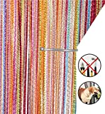 AIZESI Retro Plain Tassel Door Curtain Screen String For Doorways Divider or Window Curtain Panel 90x200cm, Fly Screen Panel