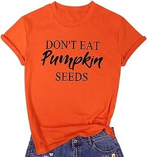 MYHALF Don't Eat Pumpkin Seeds T Shirt for Women Funny Halloween Maternity Shirt