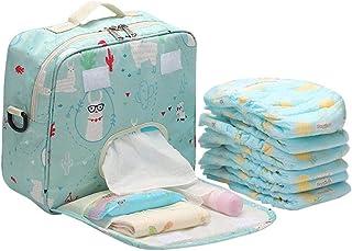 Hamkaw Large Diaper Tote Bag Organizer, Waterproof Travel Baby Diaper Duffel Bag with Baby Wipes Side Pocket 10PCS Diaper Organization, Canvas Stroller/Pram Diaper Handbag for Mom and Dad