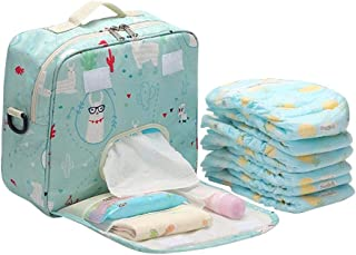 Hamkaw Large Diaper Tote Bag Organizer, Waterproof Travel Baby Diaper Duffel Bag with Baby Wipes Side Pocket 10PCS Diaper Organization, Canvas Stroller/Pram Diaper Handbag for Mom and Dad