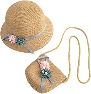 WeeH Girls Summer Wide Brim Hat Sun Beach Straw Flower Hats with Shoulder Bag
