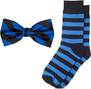 Matching College Stripe Dress Socks and Bow Tie