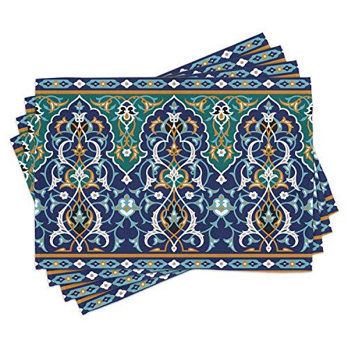 ABAKUHAUS marokkanisch Platzmatten, Ethnische orientalische Figur Blütenblätter Hippie Vintage Tribal Mosaic Design, Tiscjdeco aus Farbfesten Stoff für das Esszimmer und Küch, Senf Blau