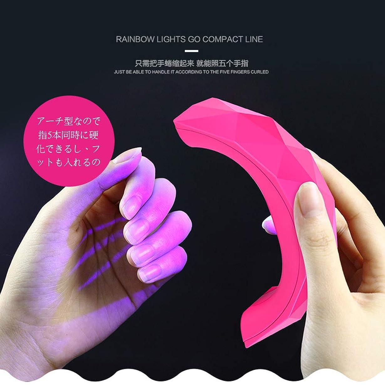 銀行先のことを考えるゴシップネイル道具?ケアツール 硬化用UVライトネイルジェルライト LED+UVライト二重光源搭載全ジェル対応 USB式 60Sタイマー設定 ジェルネイル用 (ピンク)