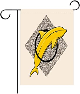 Letitia Forster1a Garden Flag Outdoor Flag House Flag Banner Banana Dolphin Style dot Work Sketch Tattoo Decorated for Outdoor Holiday gardens28x40in