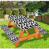 LEWIS FRANKLIN - Cortina de ducha con estampado de vacas para mesa de picnic y bancos, color negro