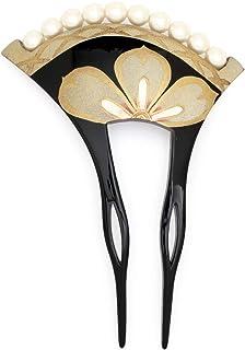 (ソウビエン) バチ型簪 黒 ブラック 金色 ゴールド 桜 花 露芝 手描き 蒔絵調 フェイクパール フォーマル かんざし ヘアアクセサリー 日本製